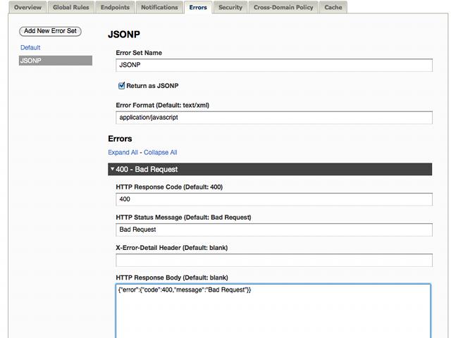 TIBCO Mashery API : New Feature: JSONP Error Sets