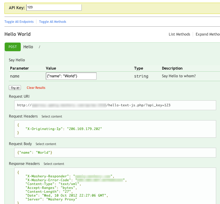 TIBCO Mashery API : New Feature: I/O Docs support for POST body